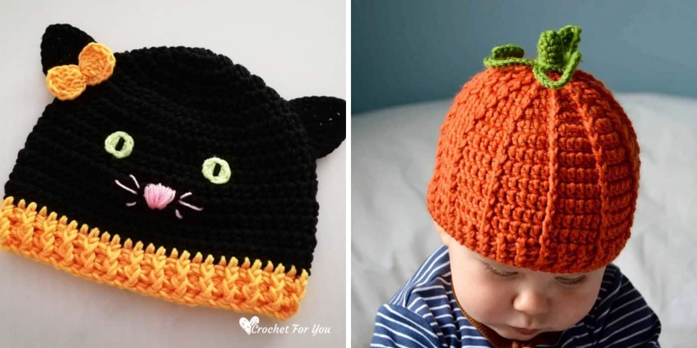 crochet pumpkin hat and crochet cat hat
