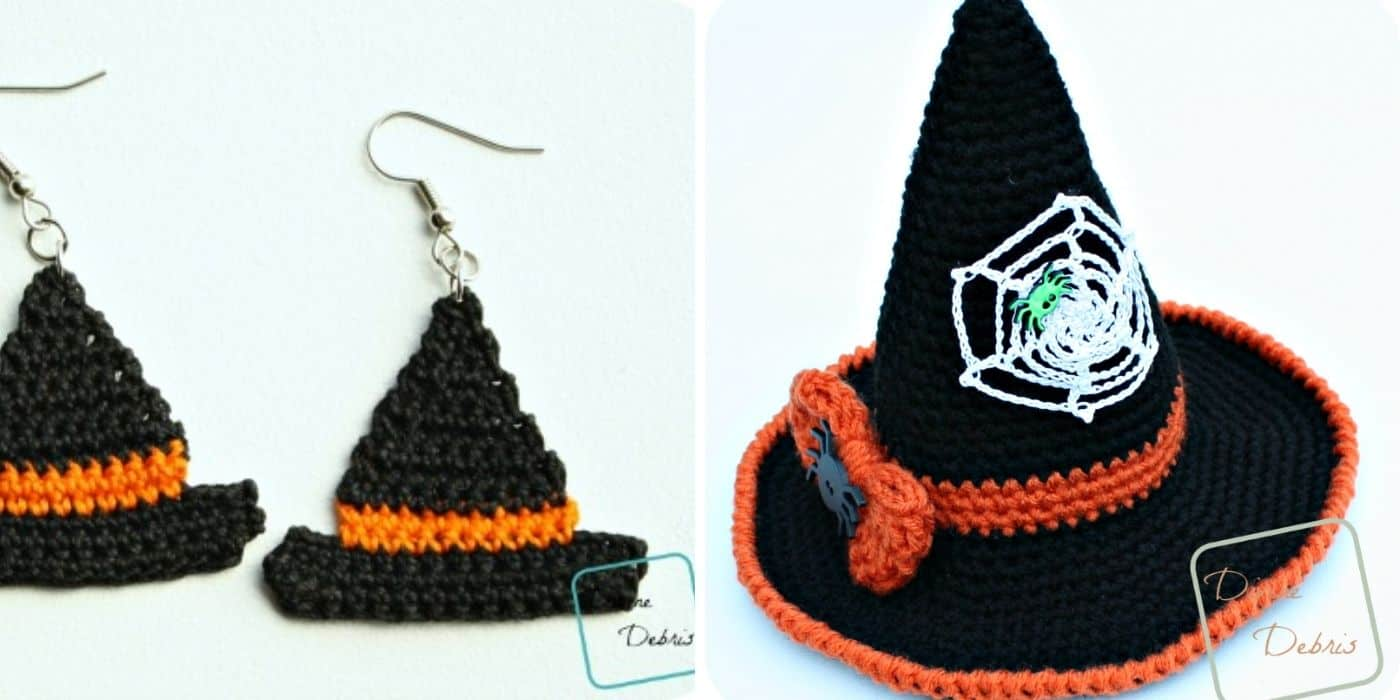 crochet witch hat and earrings