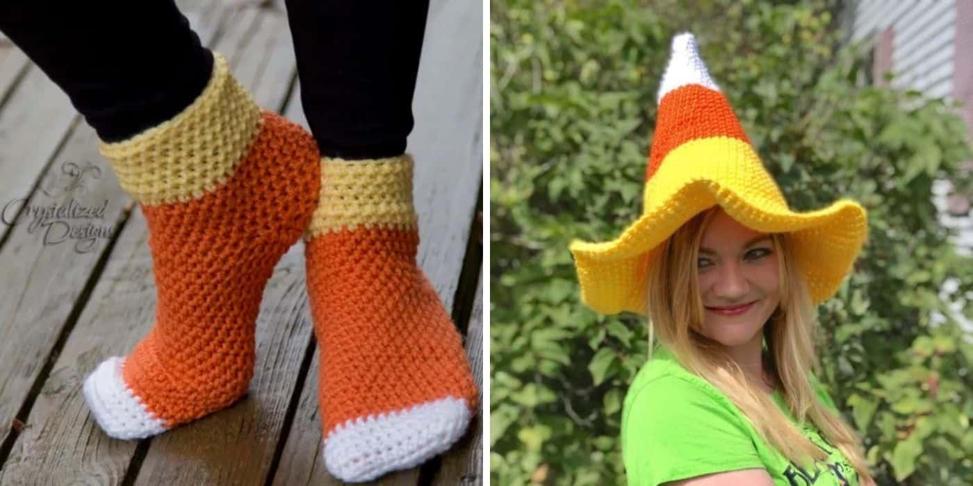 crochet candy corn socks and hat
