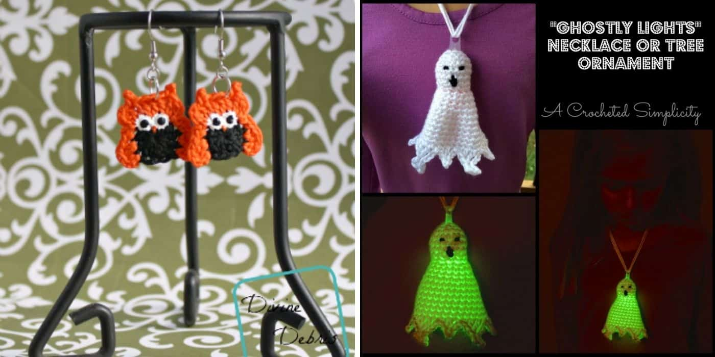 crochet owl earrings and ghost necklace