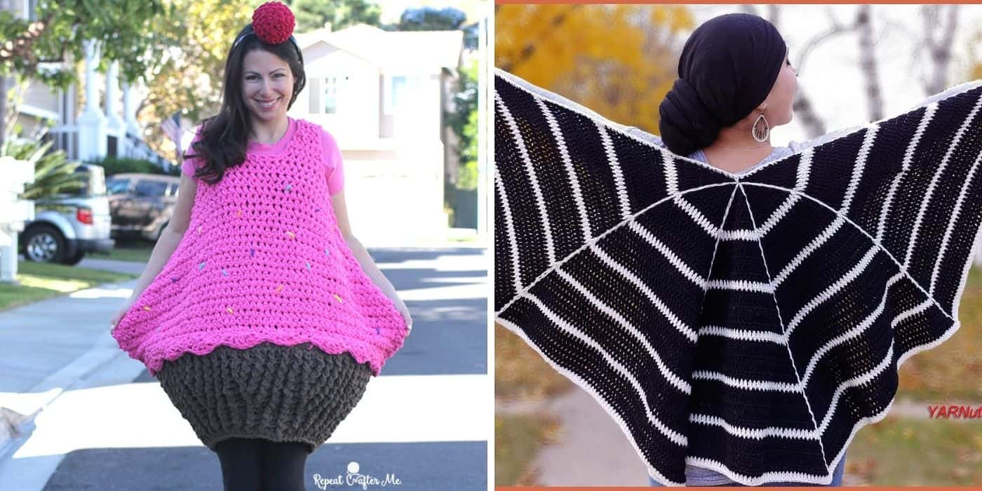 crochet cupcake costume and spider web wrap
