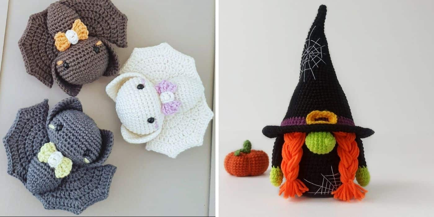 crochet bats and crochet gnome