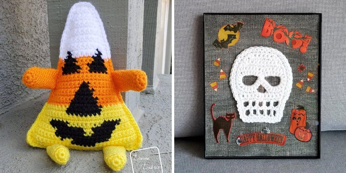 crochet skull applique and candy corn plush