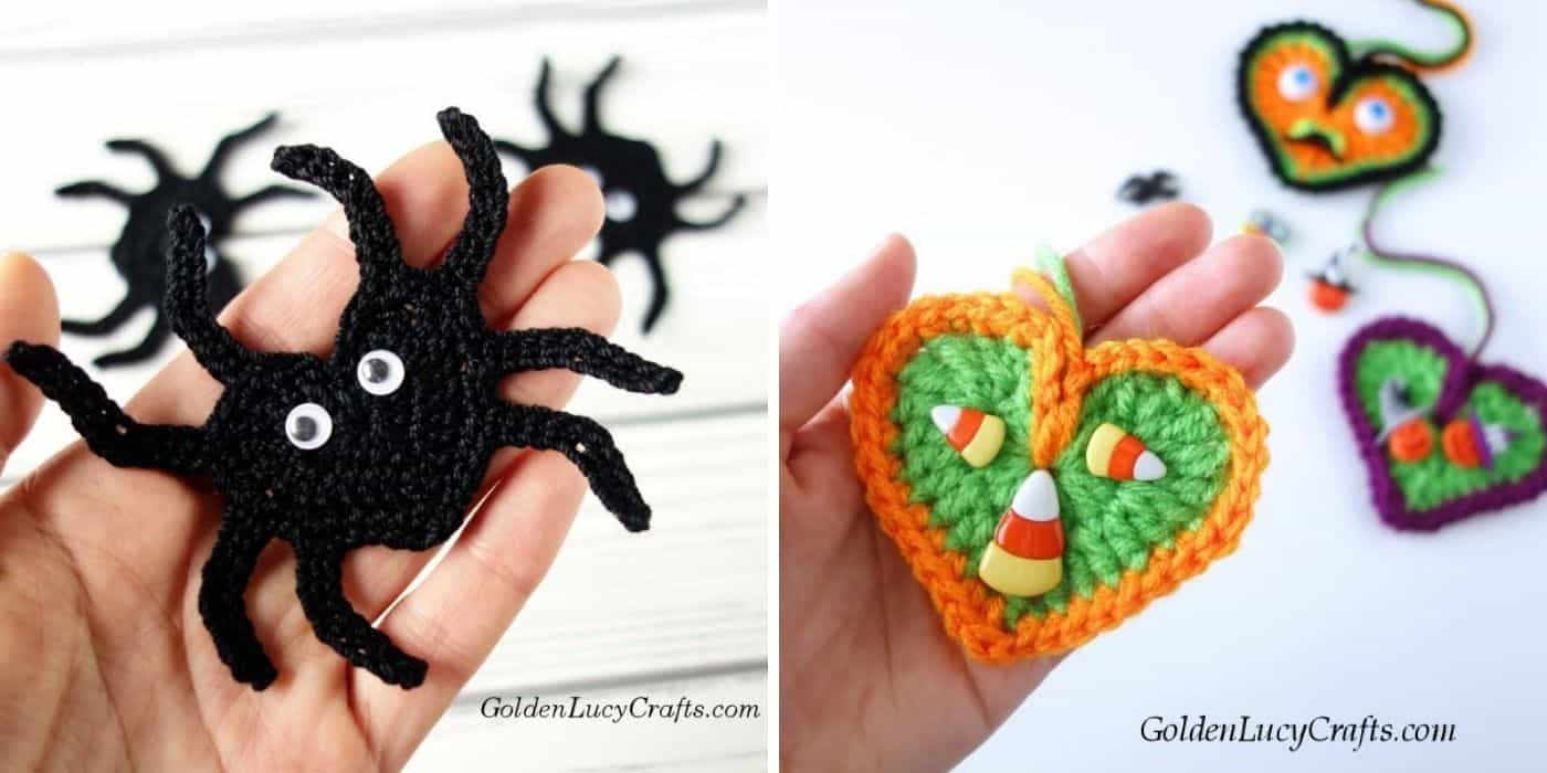 crochet spider and heart applique