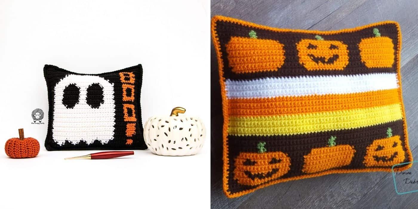 crochet halloween pillows