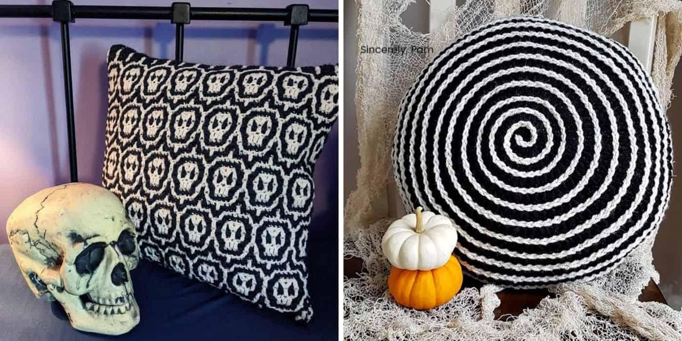 crochet halloween pillows with skulls