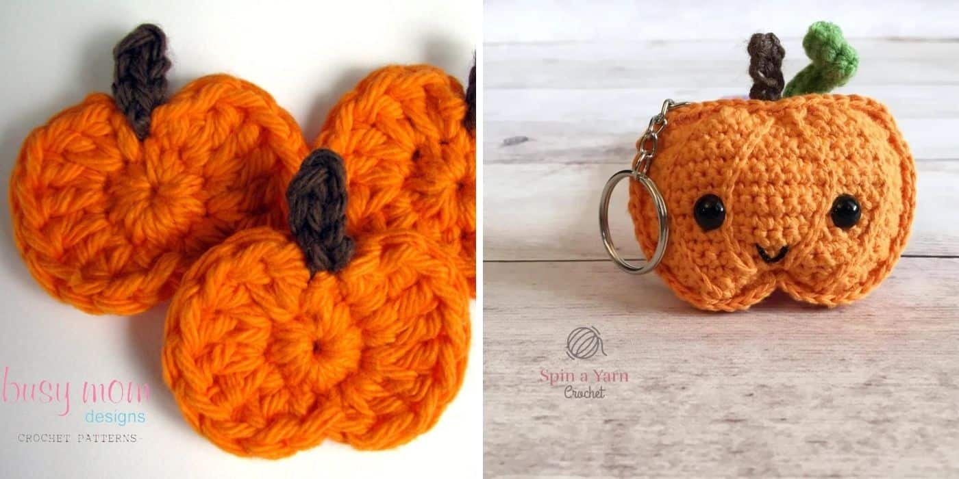 crochet pumpkin applique and keychain