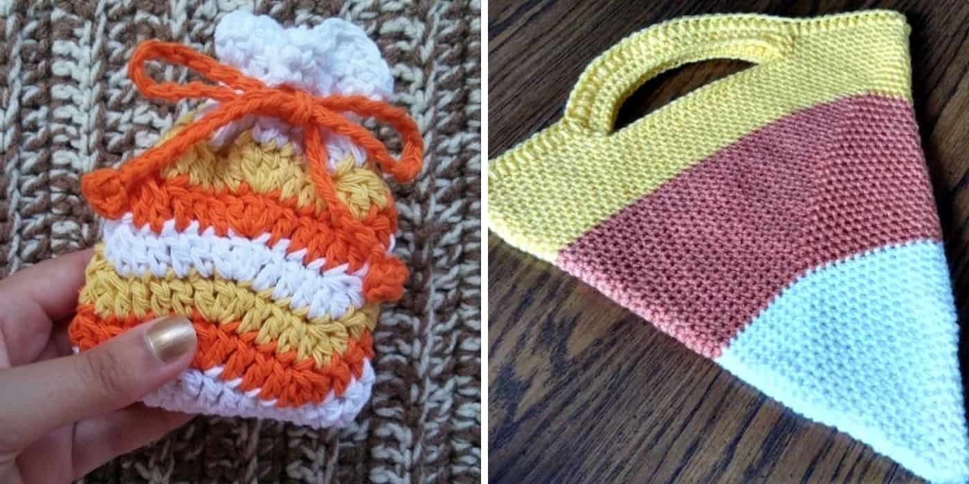 2 different crochet treat bags