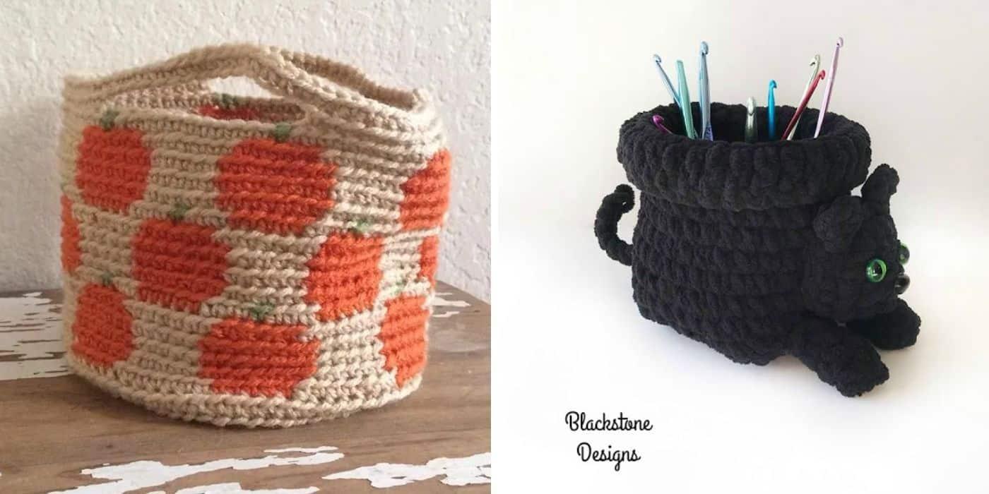 pumpkin crochet basket and a cat crochet basket