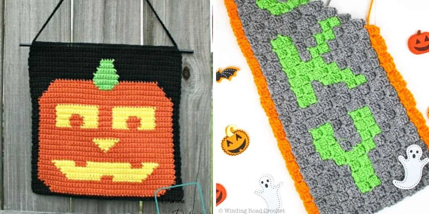 pumpkin and spooky wall hanging