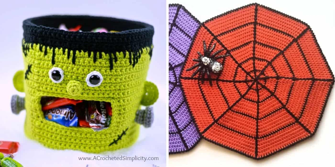 crochet monster candy bucket and spiderweb place mats