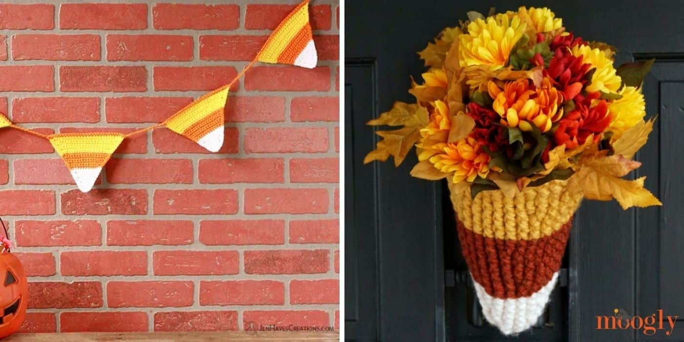 crochet candy corn bunting and candy corn door basket