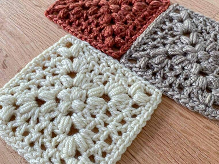 3 crochet granny squares