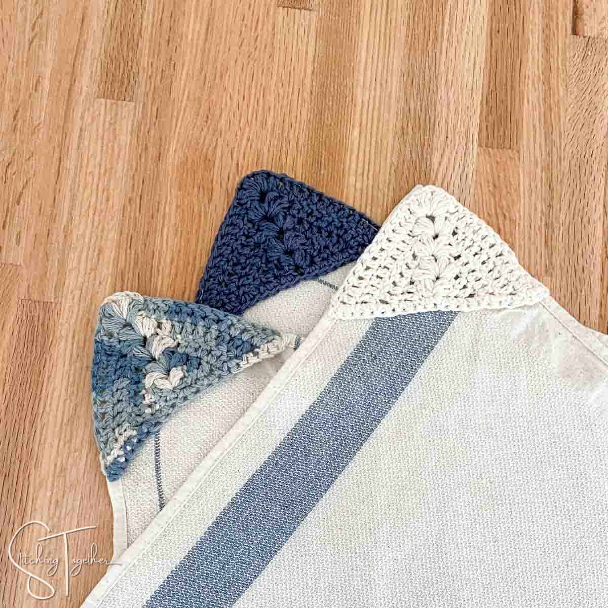 crochet kitchen towels with crochettowel hangers sewn in the corner