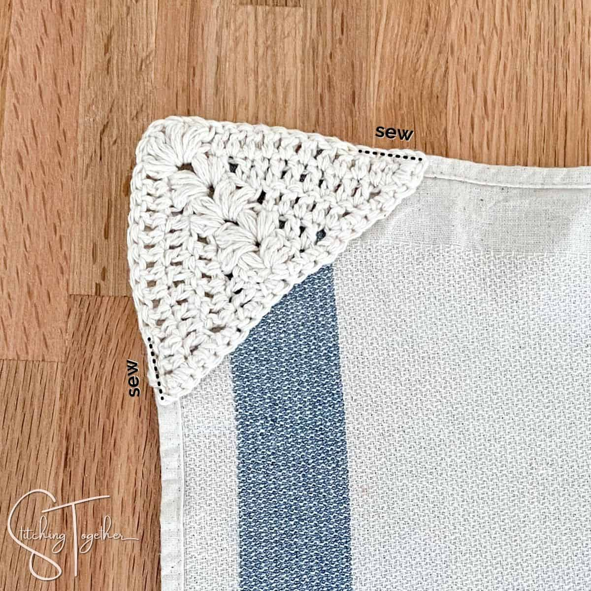lines showing where to sew to attach the towel topper