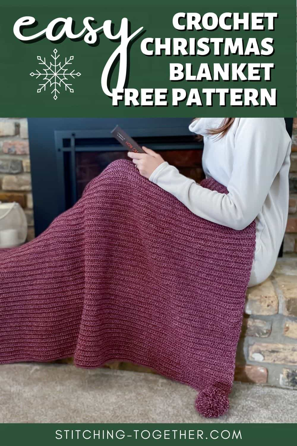 pin image of a christmas crochet throw on a lady