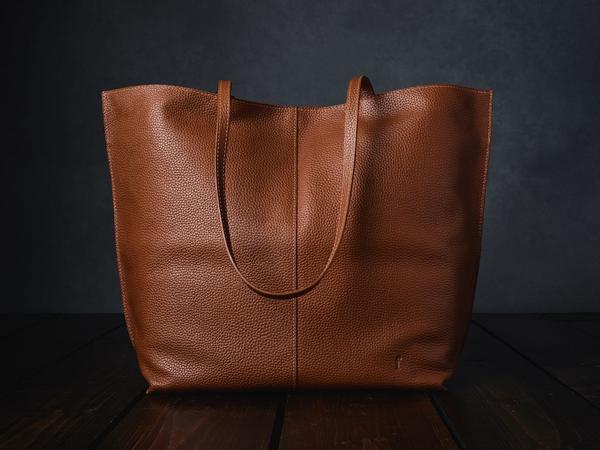 beautiful leather handbag for storing crochet projects