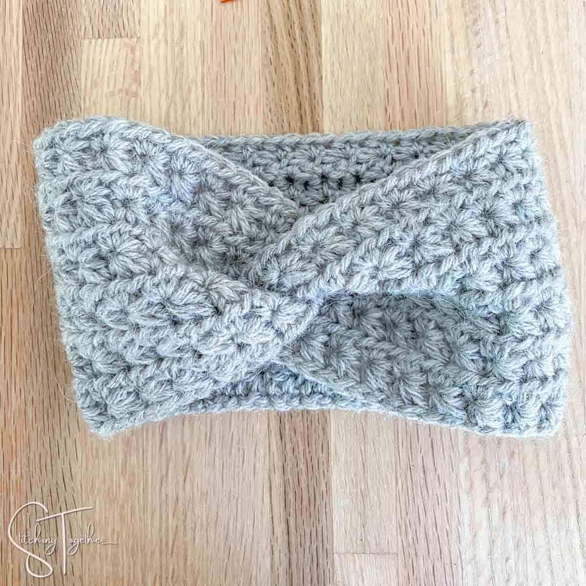 gray twisted crochet headband