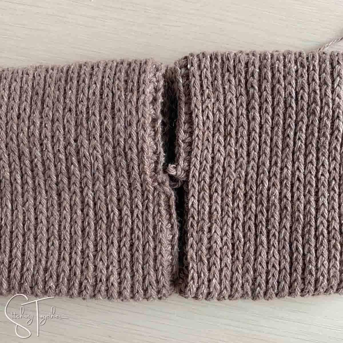 lining up ends of a crochet headband