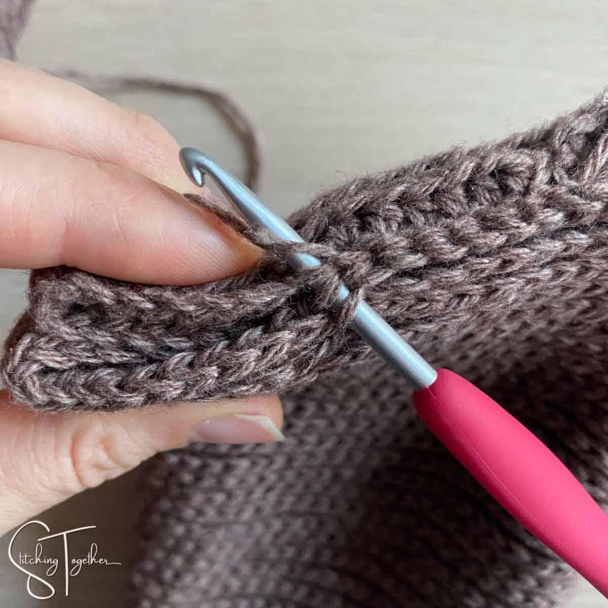 crochet slip stitches in progress