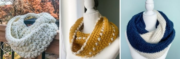 3 different crochet infinity scarves and cowls