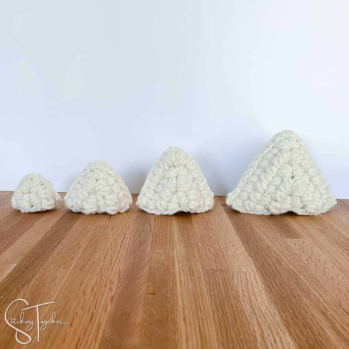 4 crochet triangles