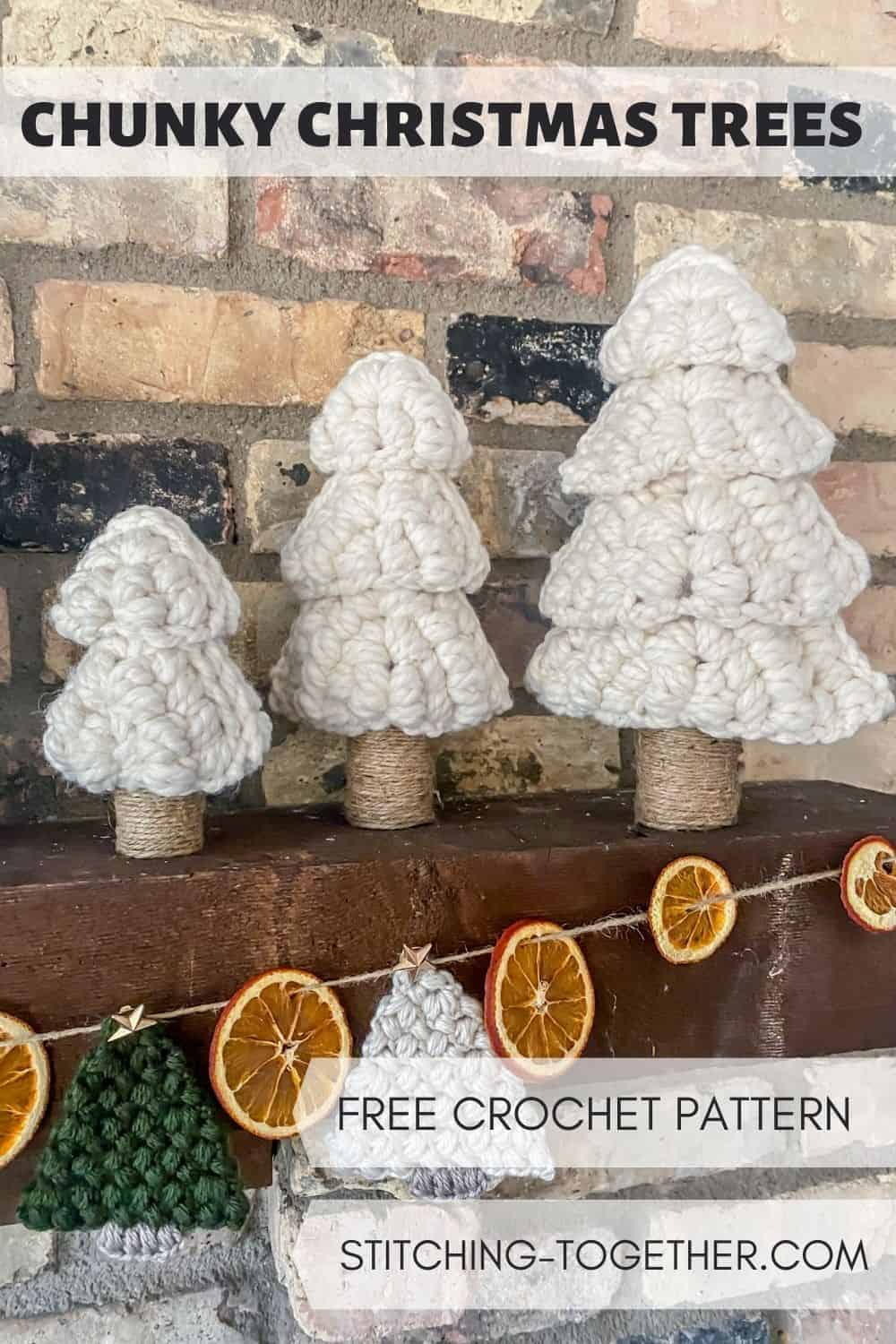 pin image of 3 white crochet christmas trees on a mantle