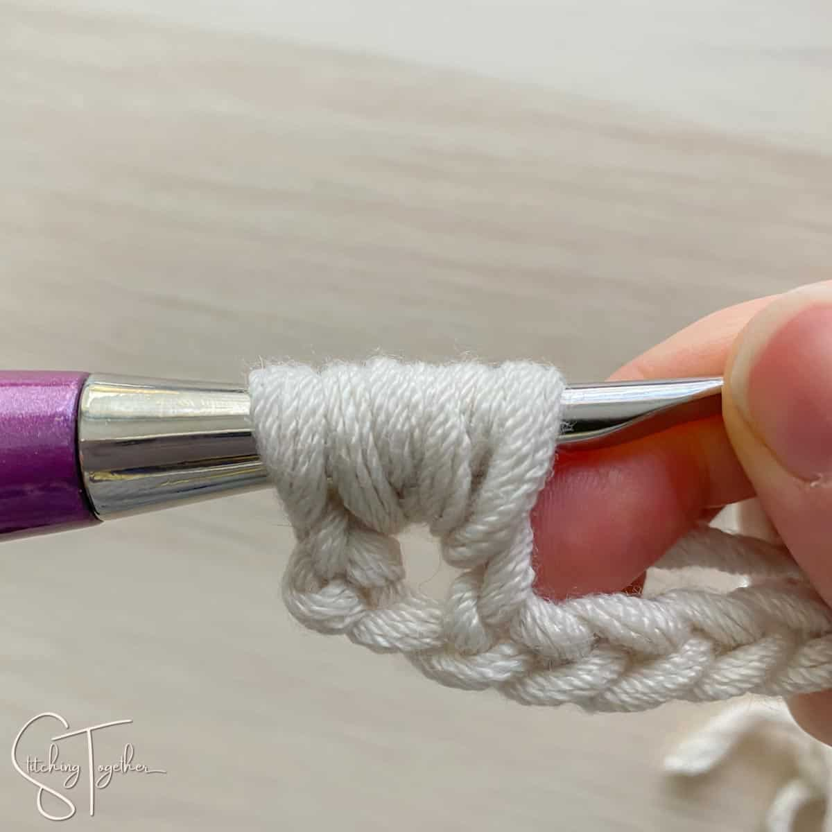 6 crochet loops on the hook