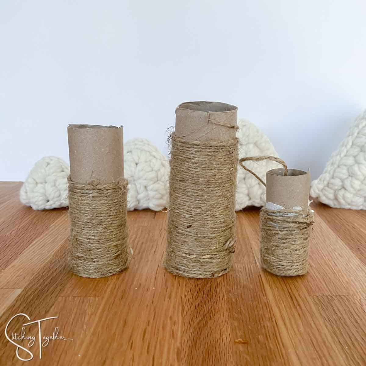 3 toilet paper rolls wrapped in jute twine