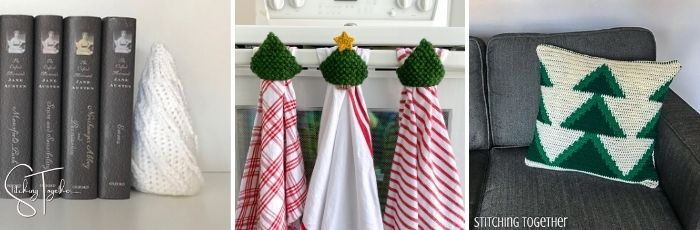 small round christmas tree, tree towel toppers, and a tree pillow