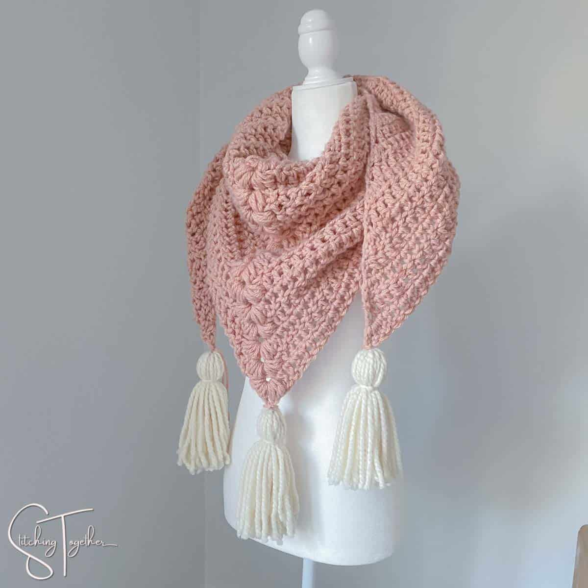 bulky crochet scarf with tassels