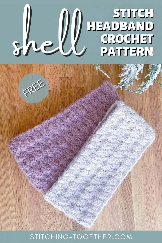 crochet shell stitch headbands pin image