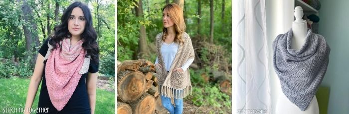 collage of crochet shawl patterns
