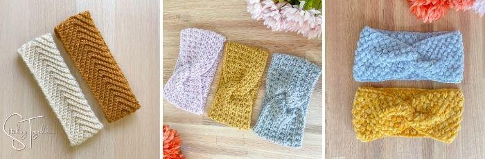 3 different crochet headband ear warmer patterns