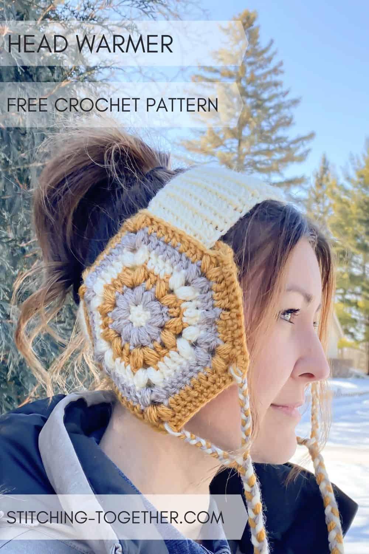 woman wearing crochet headband with ear flaps
