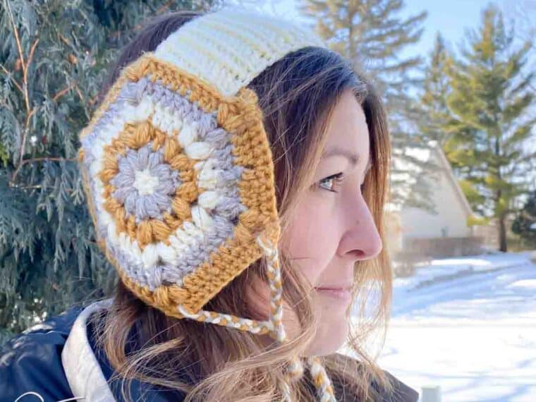 woman wearing crochet ear warmer with ear flaps