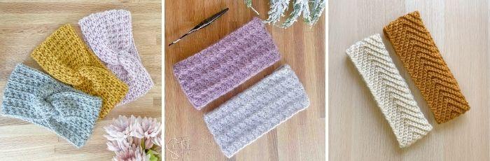 collage of crochet ear warmers