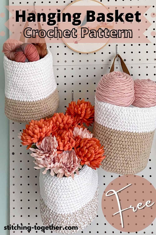 3 crochet baskets hanging on a peg board