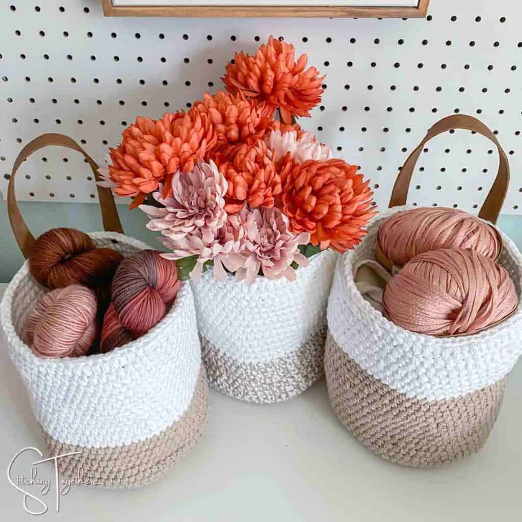 white and jute crochet storage basket