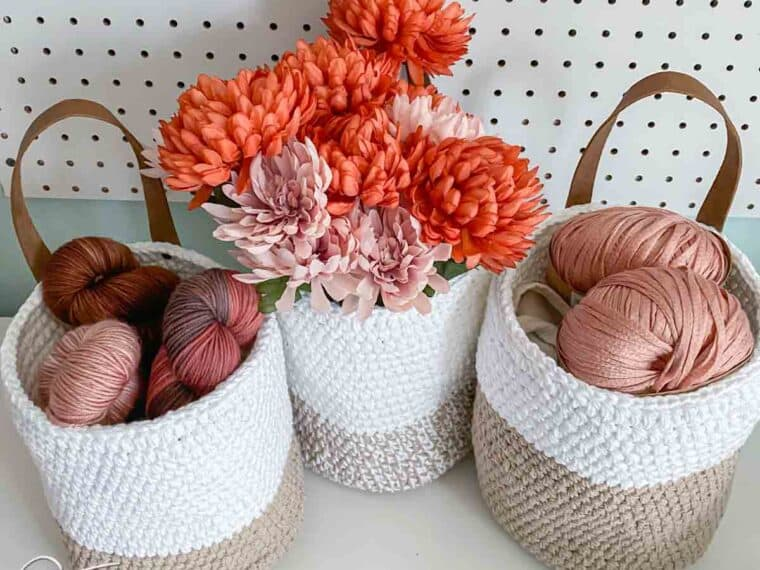 white and jute crochet storage basket