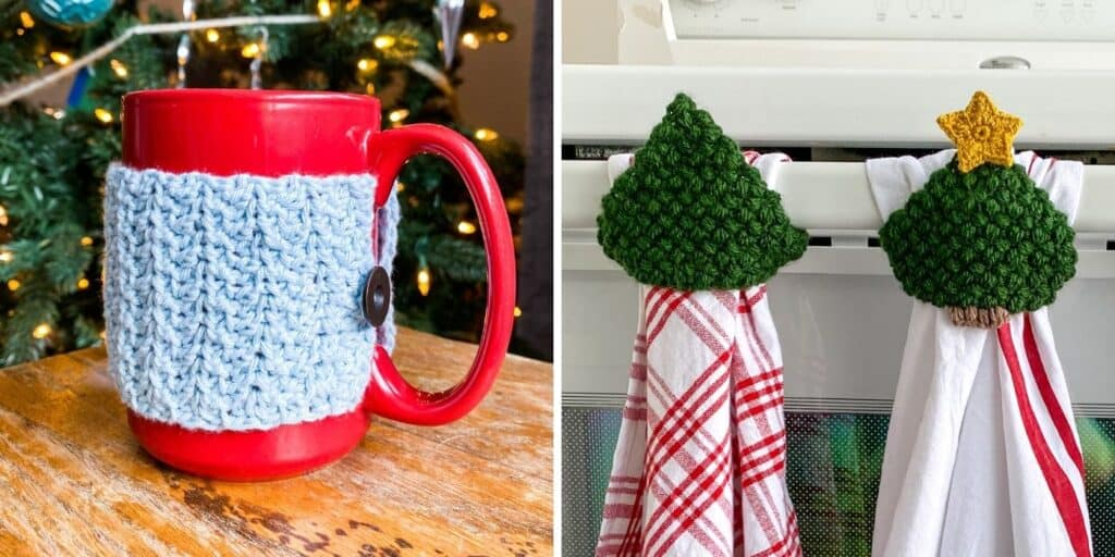 crochet christmas gifts - mug cozy and towel topper made with thin yarn