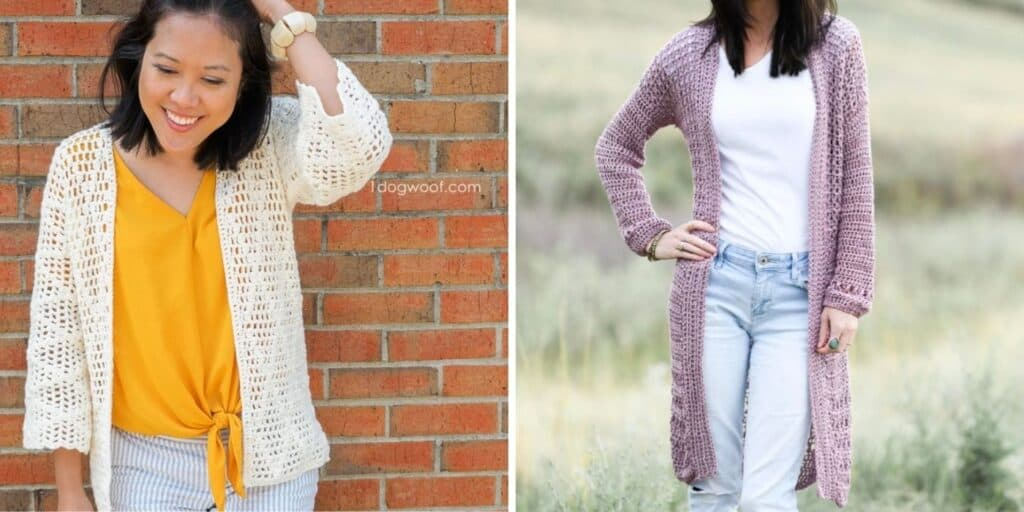 2 crochet cardigans made with light weight yarn