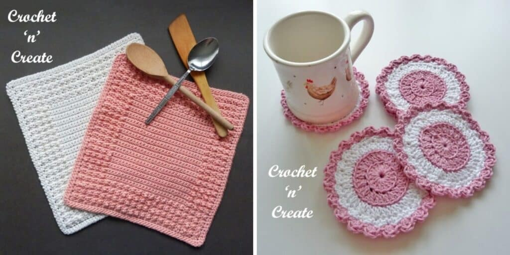 crochet coasters and dishcloths made with thin yarn