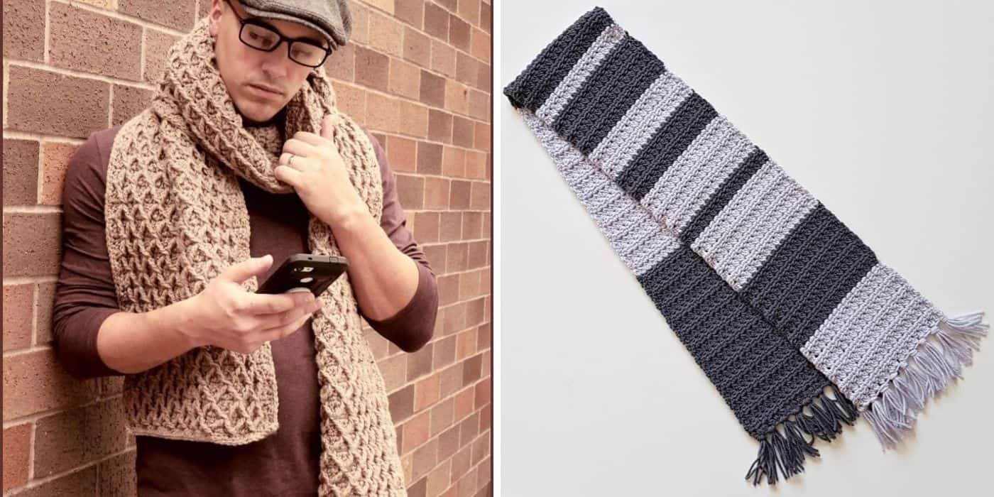 man wearing masculine crochet scarf and a gray and black striped scarf