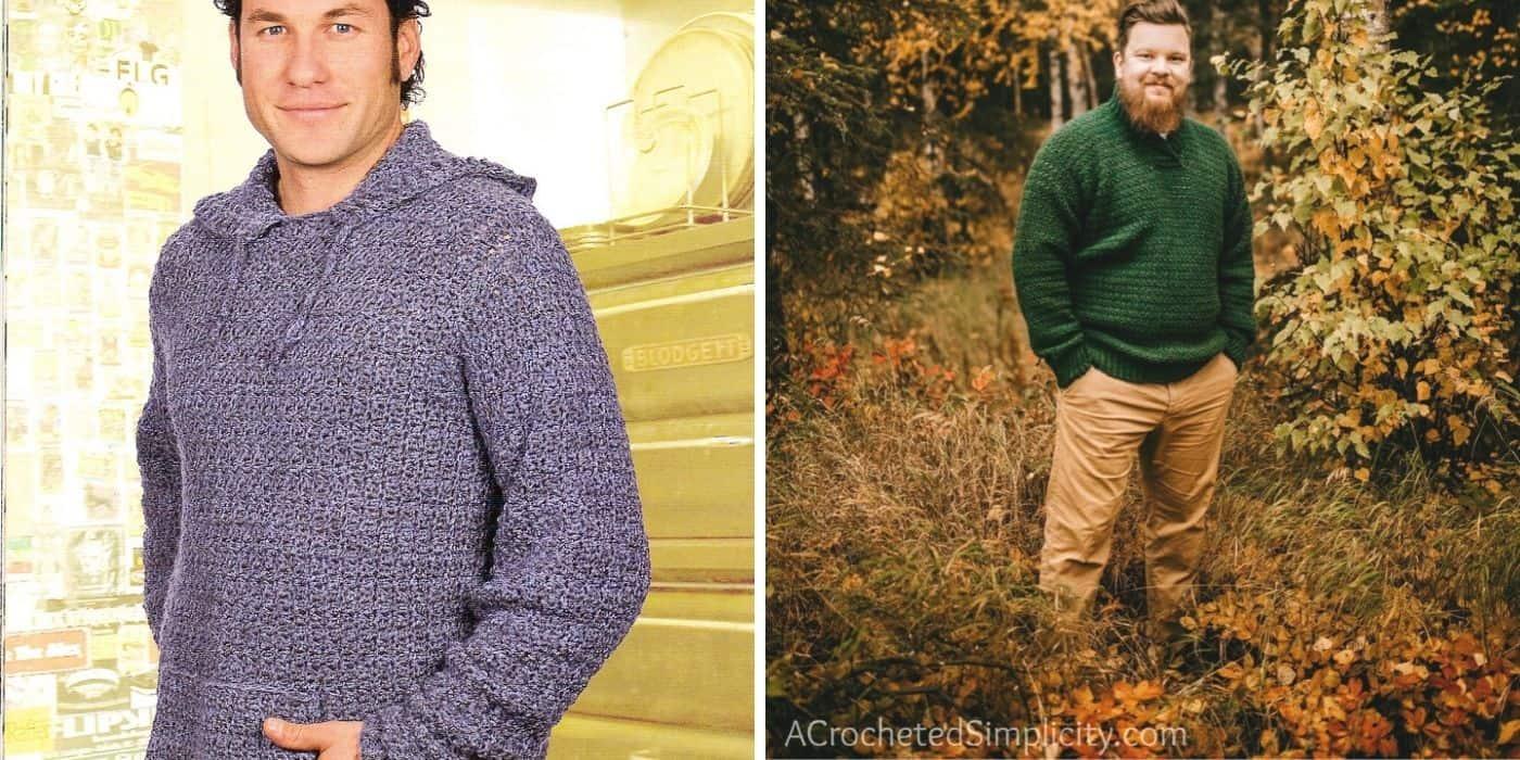 men wearing crochet sweaters