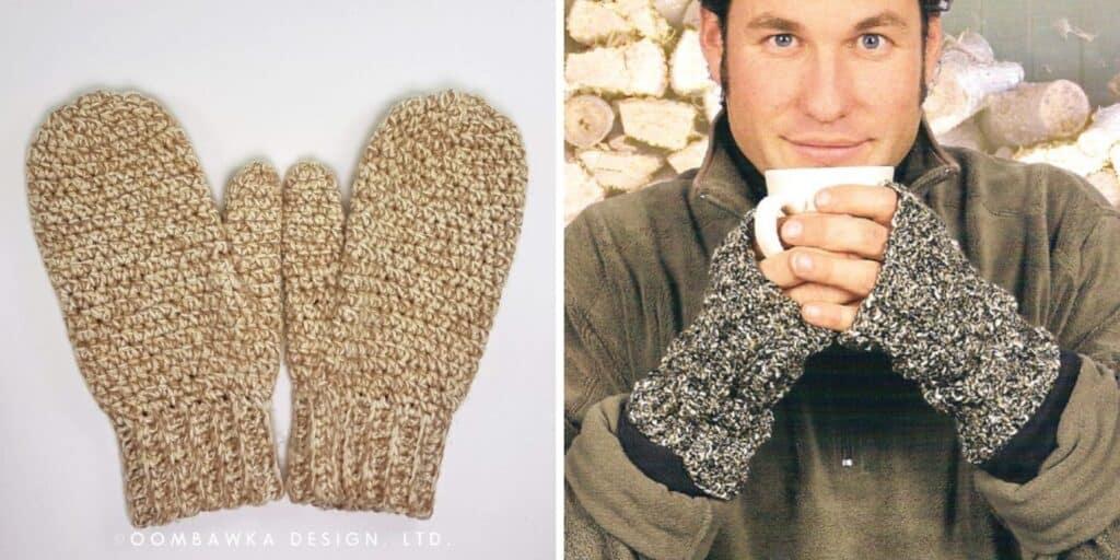 crochet mittens and crochet fingerless gloves on a man