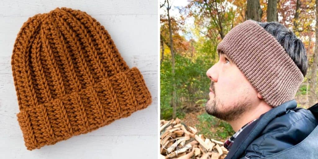 collage image of a crochet hat and man wearing crochet ear warmer