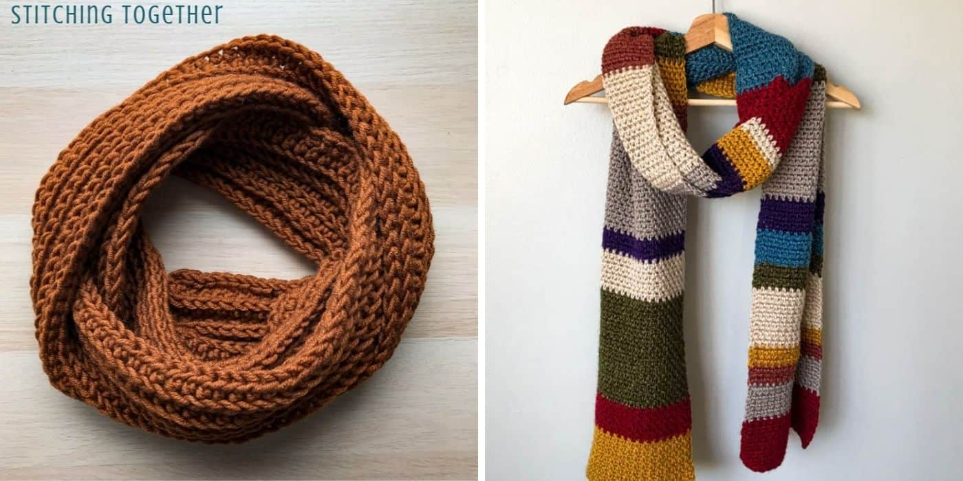 brown crochet scarf and a multicolored Dr. Who scarf