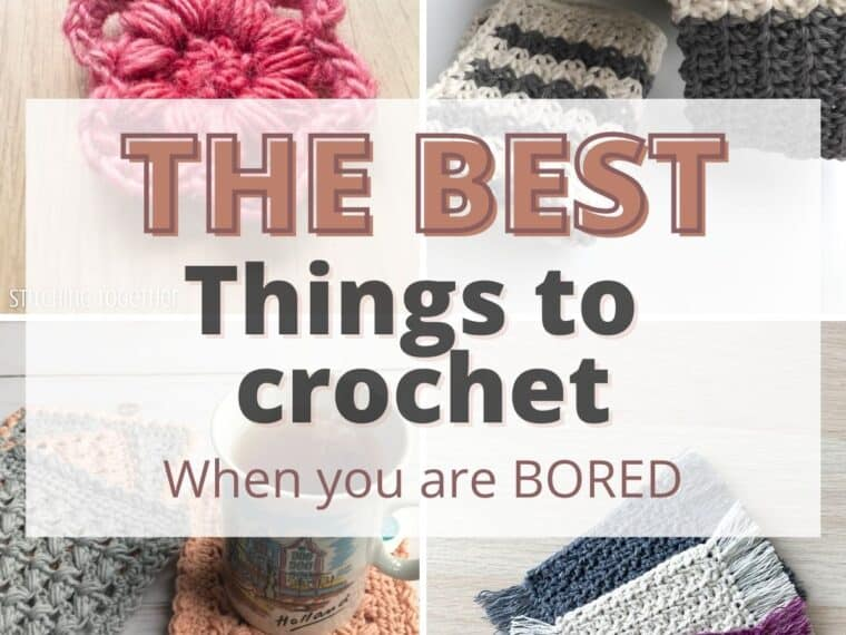 collage showing the best things to crochet when bored