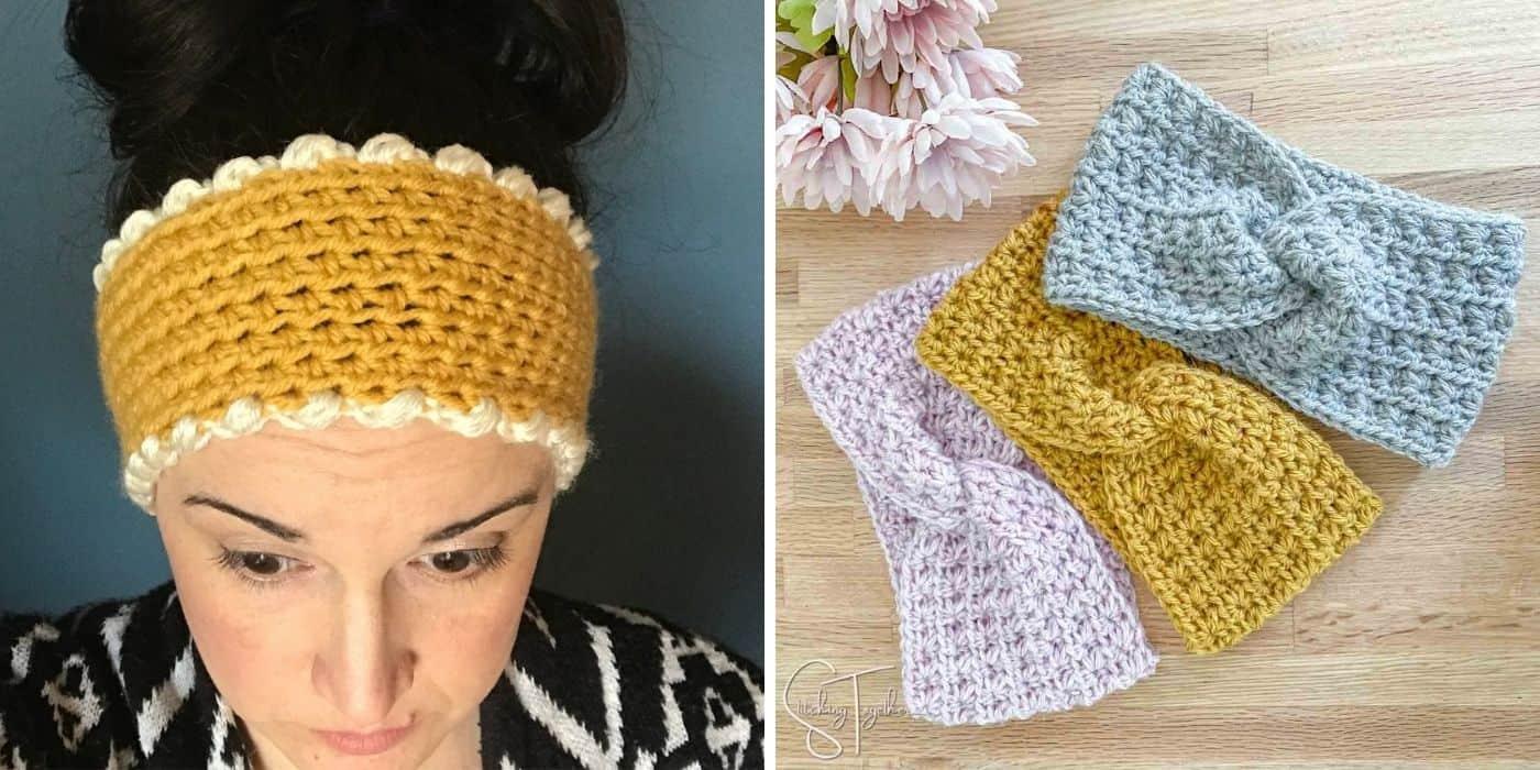 woman wearing crochet ear warmer and twisted crochet headbands laying flat on a table